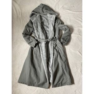 Hooded fur lined trench coat